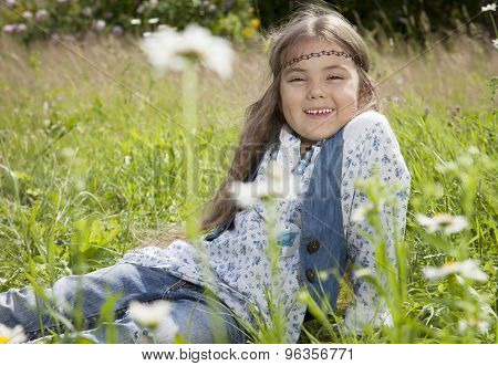 Beautiful Little Girl In Hippie Style