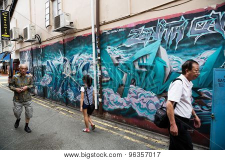 SINGAPORE - CIRCA FEBRUARY, 2015: Graffiti on the walls of old buildings Haji Lane. Haji Lane is the Kampong Glam (Arab Quarter) quarter famous for its cafes, restaurants and shops.