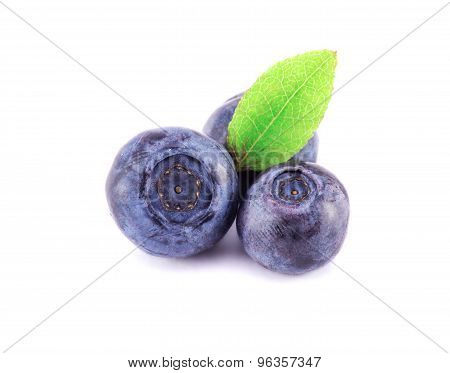 Blueberries On A White
