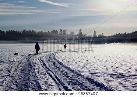 People walking a dog on a frozen lake in winter