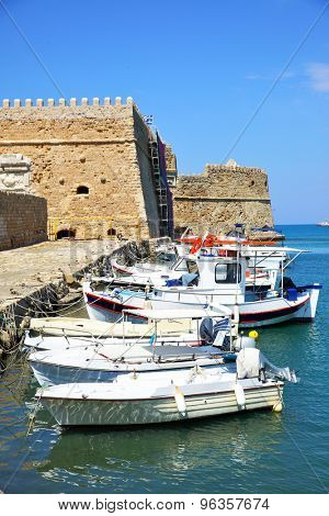 Fishing boats near Venetian Fortress in Heraklion, Crete, Greece