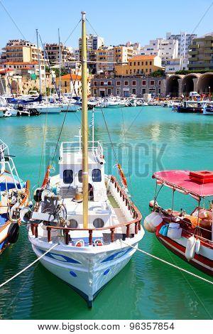 Fishing boats in port of Heraklion, Crete, Greece