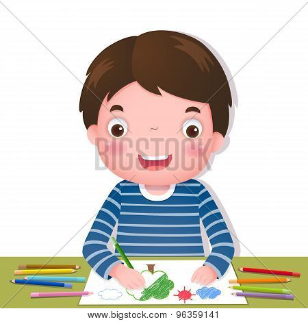 Cute Boy Drawing With Colourful Pencils