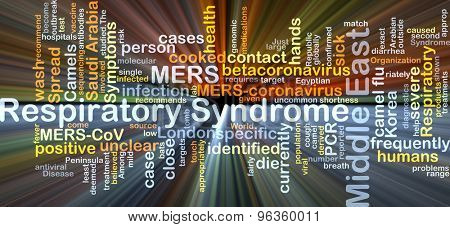 Background concept wordcloud illustration of Middle East respiratory syndrome MERS glowing light