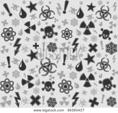 Seamless warning symbols pattern.