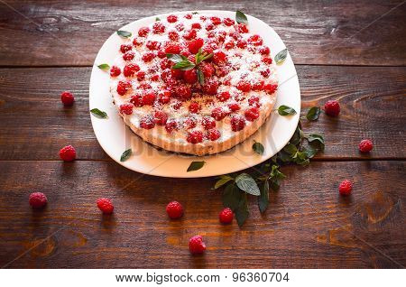 Beautiful Vegan Cake With Raspberry