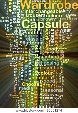 Background concept wordcloud illustration of capsule wardrobe glowing light