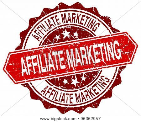 Affiliate Marketing Red Round Grunge Stamp On White