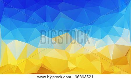 polygonal background like Ukrainian flag