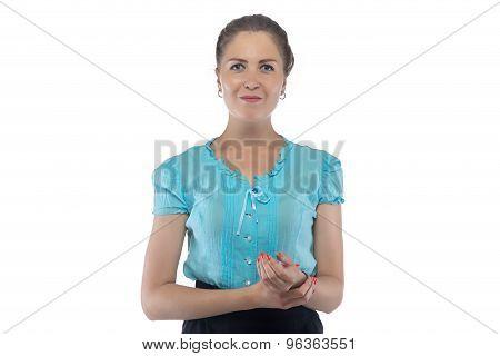 Photo of woman holding wrist