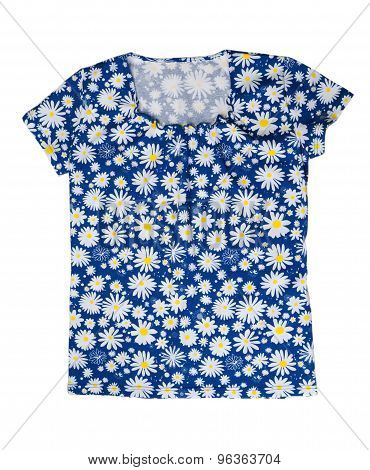 Blouse With A Pattern Of Blue Chamomile.
