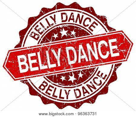 Belly Dance Red Round Grunge Stamp On White