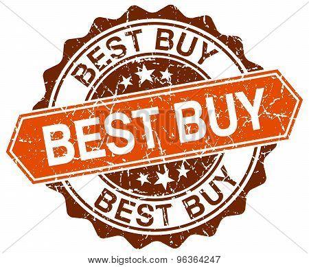 Best Buy Orange Round Grunge Stamp On White