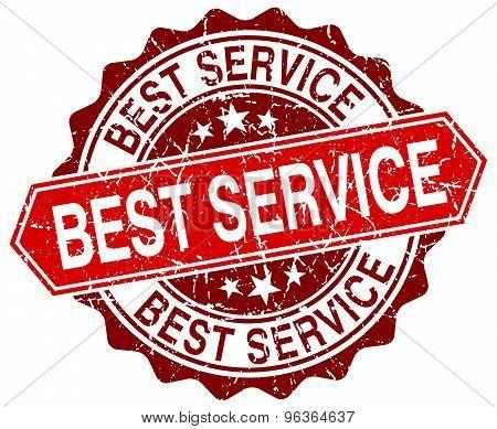 Best Service Red Round Grunge Stamp On White