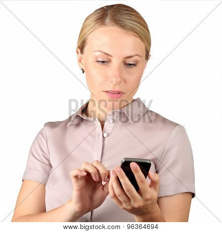 Businesswoman Holding  And Using The  Mobile  Smart  Phone On A White Background