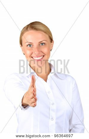 Business Woman Giving A Handshake  On A   White  Background