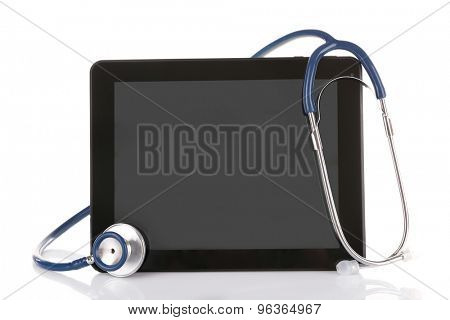 Stethoscope and tablet isolated on white