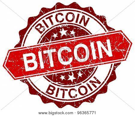 Bitcoin Red Round Grunge Stamp On White