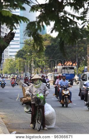 Chaotic Traffic In Saigon, Vietnam