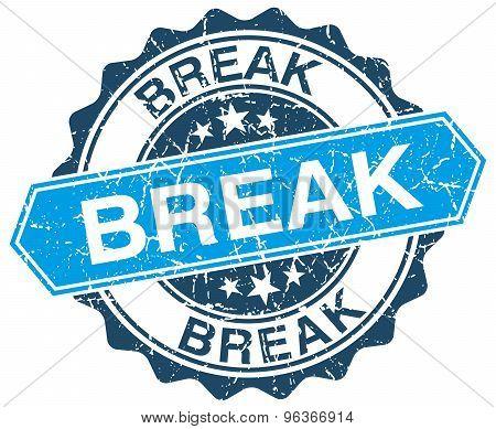 Break Blue Round Grunge Stamp On White