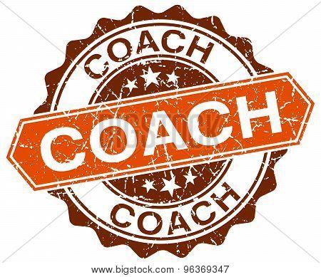 Coach Orange Round Grunge Stamp On White