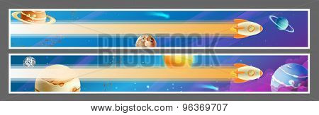 Set of space banners, vector design