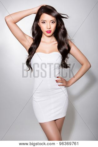 beautiful asian woman with long hair