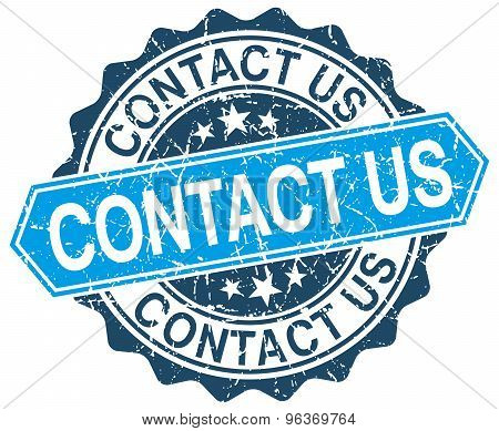 Contact Us Blue Round Grunge Stamp On White