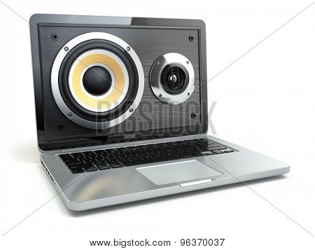 Digital audio or music software concept. Laptop and loudspeaker. 3d