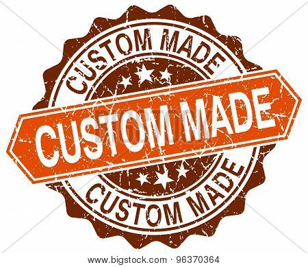Custom Made Orange Round Grunge Stamp On White