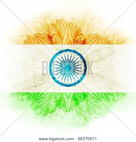 Vector indian flag in watercolor background. Concept Indian Independence Day celebrations.
