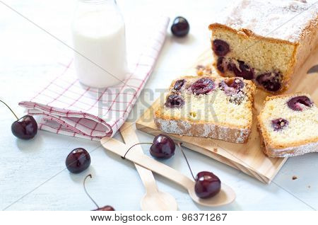 Plum cake with cherries butter and milk