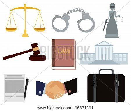 Icon set law. Courthouse and handcuffs. Vector illustration