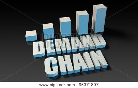 Demand chain graph chart in 3d on blue and black