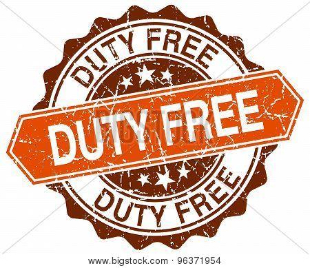 Duty Free Orange Round Grunge Stamp On White