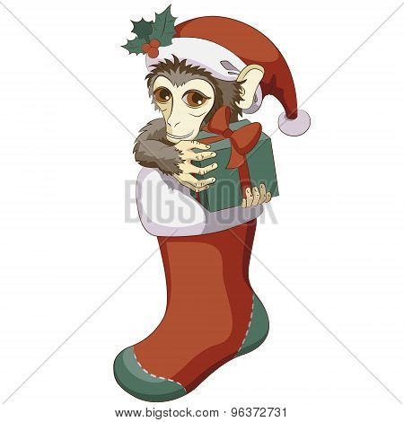 Monkey In Christmas Stocking With A Gift