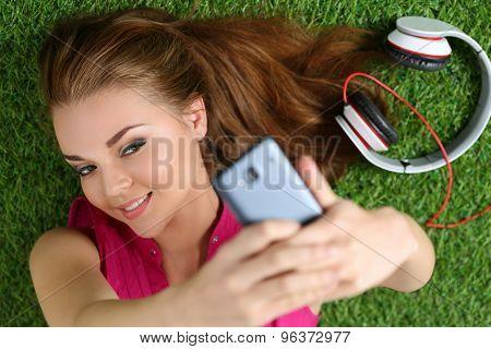 Young Pretty Girl Taking Self Portrait