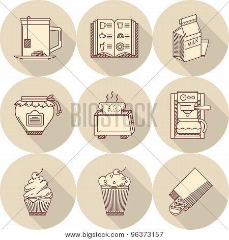Breakfast beige round vector icons
