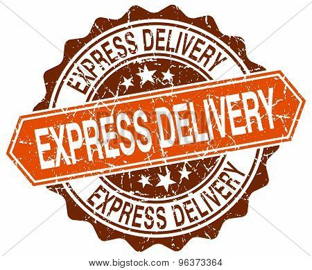 Express Delivery Orange Round Grunge Stamp On White