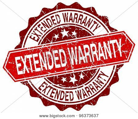 Extended Warranty Red Round Grunge Stamp On White