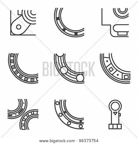 Parts of bearing line vector icons