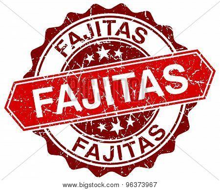 Fajitas Red Round Grunge Stamp On White