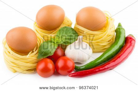 Eggs In Nest From Pasta, Tomatoes, Garlic And Chili Peppers