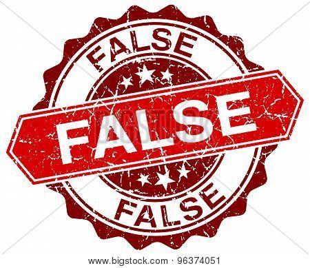 False Red Round Grunge Stamp On White