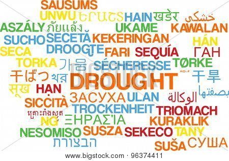 Background concept wordcloud multilanguage international many language illustration of drought