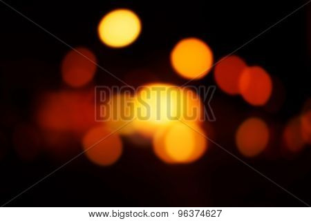 Blur Night Light Reflection With Magic Bokeh. Christmas Abstract Backdrop With Blurry Lights.
