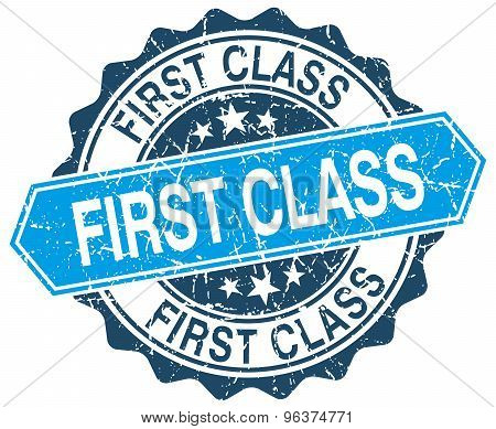 First Class Blue Round Grunge Stamp On White