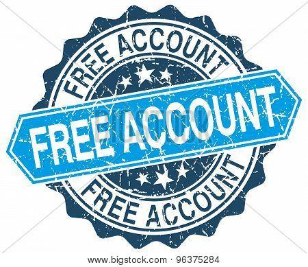 Free Account Blue Round Grunge Stamp On White