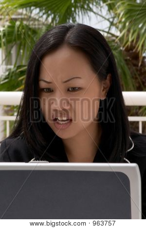 Business Woman Looking At Bad News On Laptop