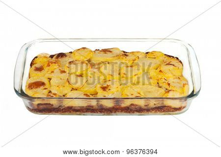 Moussaka - casserole of minced meat and vegetables, traditional Greek cuisine